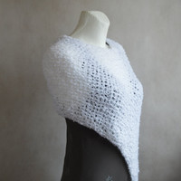 Loose Knit White poncho, Fluffy Capelet, Gift for her, White Loose Knit Wrap, Hand knitted Poncho, White Cover up, Fashion White Accessory
