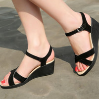 Ankle Strap Genuine Leather Wedges Platform Sandals 7767