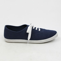 """Buddy"" Canvas Lace Up Walking Sneakers - Navy Blue"