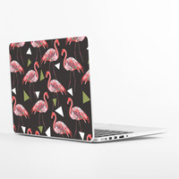 Funky Flamingos on Black Laptop Skin