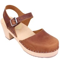 Lotta From Stockholm Classic High Heel Covered Mary Jane Style Clogs From Lotta in brown oiled nubuck