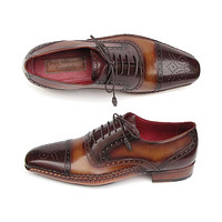 Paul Parkman Men's Captoe Oxfords Brown Hand Painted Shoes (Id#5032)