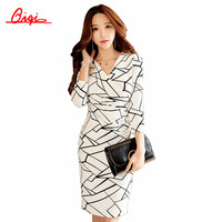 Qiqi Korean Pencil Dresses 2016 Autumn Womens Elegant Print Slim Work Wear Office Business Casual Party Sheath Bodycon Dress
