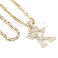 Crown K Initial Pendant Necklace Set