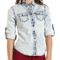 Acid Wash Button-Up Chambray Top by Charlotte Russe - Acid Wash Denim