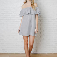 Ayla Striped Off-The-Shoulder Dress-FINAL SALE