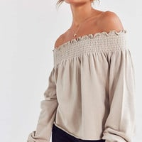 Kimchi Blue Cecil Smocked Off-The-Shoulder Sweatshirt | Urban Outfitters