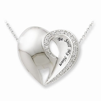 Sterling Silver Be Still My Heart Necklace