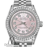 Unisex Rolex 36mm Datejust SS Pink String Diamond Dial with Vintage Style Marker