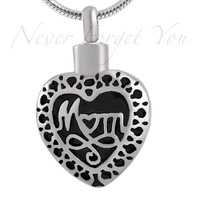 """Stainless Steel """"Mom Heart"""" Cremation Urn Necklace"""
