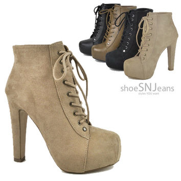 Women Booties Lace Up High Heel Pumps Platform Ankle Boots Party Dressy Shoes