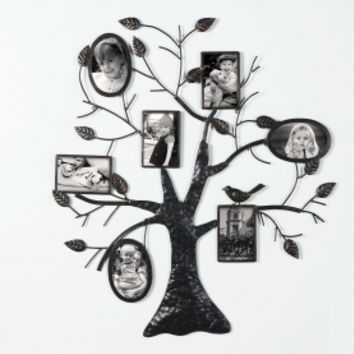 Adeco Brown Black Decorative Collage Bronze Iron Metal Wall Haning Family Tree Picture Photo Frame