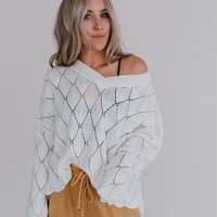 Mathilda Long Sleeve Scalloped Sweater - Ivory