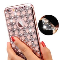 Luxury Gold Bling Glitter Plating Diamond Phone Case For iPhone 7 Plus iPhone 6 6S Plus Soft TPU Back SE 5 5s Cover