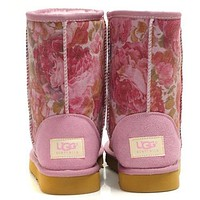 UGG Women Fashion Flower Wool Snow Boots Half Boots Shoes