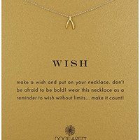 """Dogeared """"Reminder"""" Wishbone Gold Chain Necklace, 16"""""""