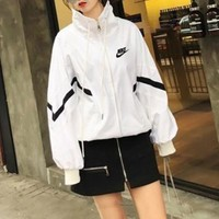 """Adidas"" Women Loose Casual Multicolor Stripe Long Sleeve Zip Cardigan Jacket Baseball Clothes Coat"