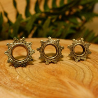 Brass plugs tunnels, ear gauges, tribal dot afghan gold hippie gypsy jewelry double flare 0g, 00g, 1/2, 9/16, 5/8, 3/4, 7/8, 1 inch
