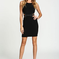 Black Cut Out Contrast Dress - LoveCulture