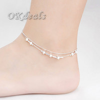 Silver Plated Bead Anklets for Women