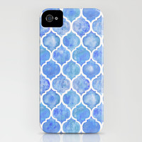 Cornflower Blue Moroccan Hand Painted Watercolor Pattern iPhone & iPod Case by Micklyn