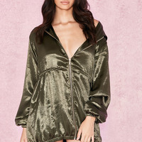 Clothing : Bodycon Dresses : 'Marca' Khaki Oversized Satin Hooded Mini Dress