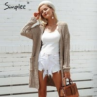 Side Pocket Knitted Long Oversize Cardigan Sweater