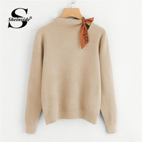 Sheinside Apricot Knotted Detail Jersey Jumper Women Sweater Casual Long Sleeve Pullover Woman Clothes 2018 Autumn Knit Sweaters