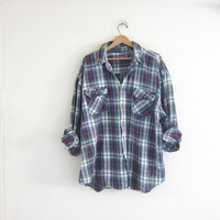Vintage red, green and white plaid Flannel / Grunge Shirt / button up shirt / men's size 3XL