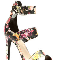 Black Faux Leather Floral Strappy Single Sole Heels