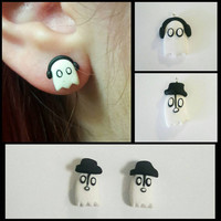 Napstablook Dapperblook Undertale Inspired Ghost Polymer Clay Earring Studs and Necklace Charms