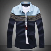 Novelty Print Beautiful Camisa Social Fashion 2 Solid Mens Shirt Casual Long Sleeves Cotton Plus Size Camisa Denim Hombre