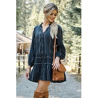 Corina Striped Dress (Navy)