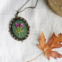 Floral necklace - hand embroidered - nature inspired, flowers - n074