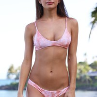 Tori Praver Swimwear Gianna Top in Coral Dust Tie Dye- Small- Final Sale