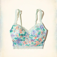 Gilly Hicks Printed Lace Longline Bralette With Removable Pads | Gilly Hicks Bralettes | HollisterCo.com