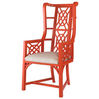 Taylor Burke Home, Kings Grant Chair, Coral/Ivory, Accent & Occasional Chairs