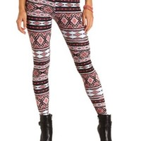 Cotton Tribal Printed Leggings by Charlotte Russe - Coral