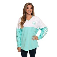 V-Neck Hoodie in Ocean Blue by The Southern Shirt Co.
