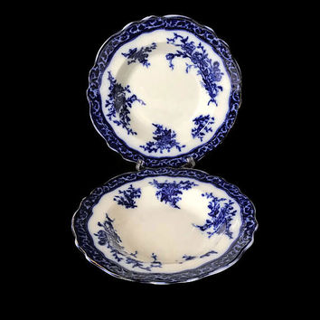 Antique Alcock Touraine Flow Blue Rim Soup or Cereal Bowls Set of 2 Gold Trim Made in England 1800s Dishes Stanley Pottery