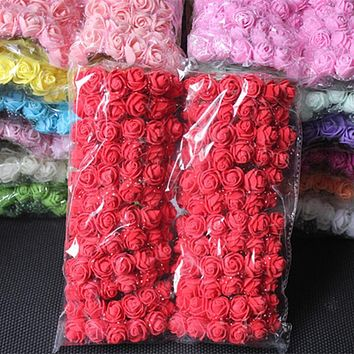 144 PCS 2 CM Mini Foam Rose Artificial Flower Bouquet Wedding Decoration Scrapbooking Fake Rose