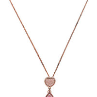 ALL THAT GLITTERS PINK HEART DOUBLE DROP PENDANT PINK