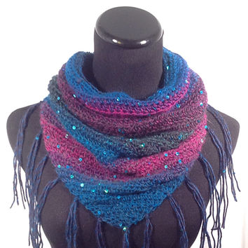Teal and Fuschia Sequin Triangle Infinity Scarf