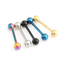 1PC 1.6*19*6mm Titanium Anodized Stainless Steel Body Jewelry Straight Barbell Tongue Piercing Tragus Nipple Ring