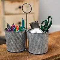 Ribbed Double Galvanized Caddy