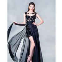 2014 Prom Dresses - Black Chiffon & Sequin Illusion High-Low Prom Dress - Unique Vintage - Prom dresses, retro dresses, retro swimsuits.