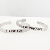 best friend bracelets hand stamped jewelry I love you - I love you more - mother daughter jewerly