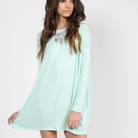 Long Sleeve Shirt Dress - Light Mint