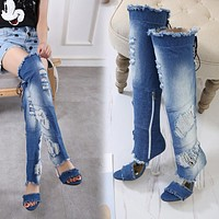 New product explosion cool boots autumn fish mouth transparent heel over the knee high heels