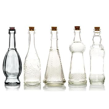Shabby Chic Clear Vintage Glass Bottles Set - (5 Pack, Assorted Designs)